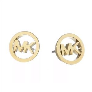 Michael Kors round gold plated logo stud earrings